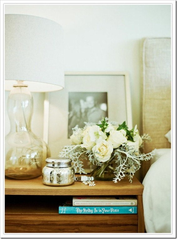 Nightstand Styled with Flowers