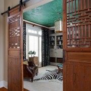 Alpharetta Home Office with Barn Door Entry