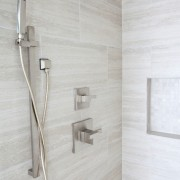 Custom Shower Niche Handheld spa shower experience body sprays marble vein cut marble slab brizo fixtures faucets