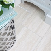 Master Bath Remodel - Custom Tile Floor Detail accent tile inset cabinery