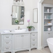 Master Bath Vanity - Remodel Gray cabinetry gray cabinets vessel sink brizo faucet vein cut travertine