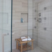 Master Bathroom Remodel - Custom Shower Detail Body Sprays Frameless Glass Door Brizo spa shower body sprays rain head shower shower niche frameless glass shower enclos