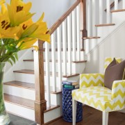 Yellow Chevron Fabric Chair in Foyer